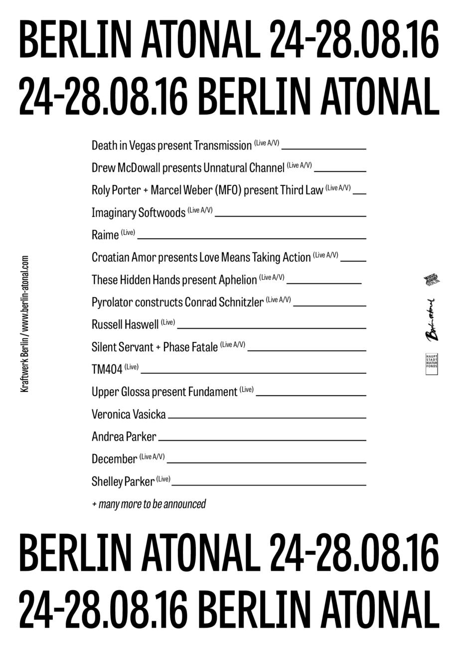 Berlin Atonal 2016 - Program